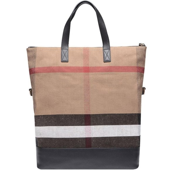 New Burberry Men's Nova Beige Canvas Tote Bag